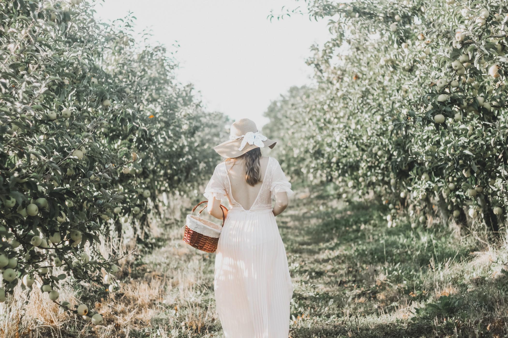 Nude long dress and apple tree
